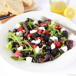 Triple Berry, Chevre, Candied Pecan Salad