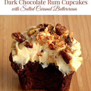 Dark Chocolate Rum Cupcakes {with Salted Caramel Buttercream}