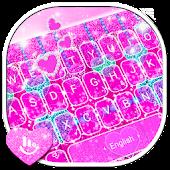 Tải Glitter Pink Heart Keyboard Theme APK