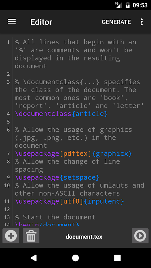 VerbTeX LaTeX Editor – Capture d'écran