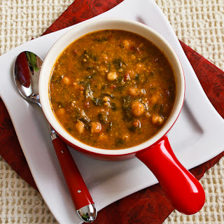 Chickpea (Garbanzo Bean) Soup Recipe with Spinach, Tomatoes, and Basil.