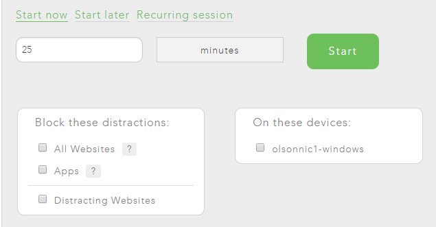 With Freedom you can block your distractions now, later, or schedule recurring block sessions