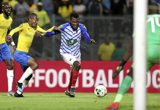 Thapelo Morena, seen here with Alimi Sikiru of Lobi Stars during their match last week, will again be key for Sundowns at Wydad tomorrow.