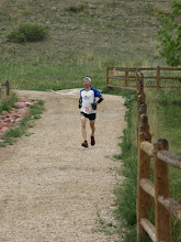 Photo: Eventual 50-mile winner Ryan Burch the first to arrive back at Horsetooth Aid at mile 40.