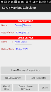 Love-Marriage-Luck Calculator - náhled