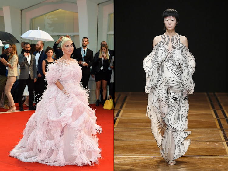Lady Gaga in Valentino (left), and the Iris Van Herpen Couture gown we'd love to see her in at the 2019 Oscars.