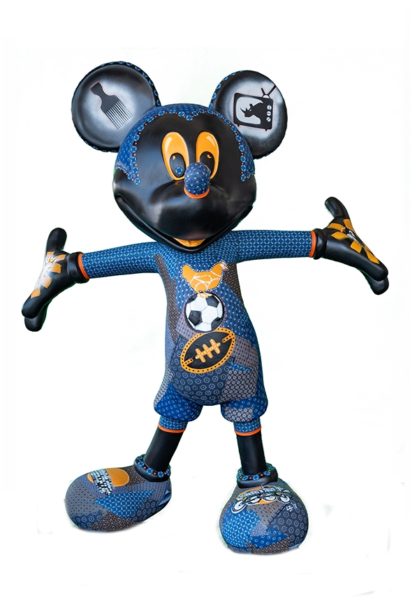 Lee Scott Hempson collaged her Mickey statue with shweshwe prints.