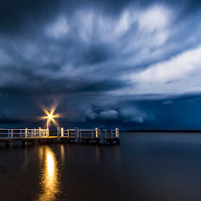 Storm at the Wharf by Andy Hutchinson - Landscapes Weather ( sky, weather, storm, wharf, clours, river )