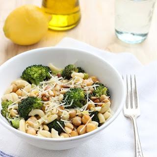 Roasted Broccoli and Chickpea Lemon Pasta