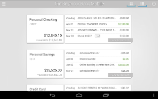 Screenshot of The Seymour Bank Mobile