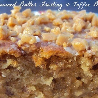 Banana Toffee Poke Cake with Browned Butter Frosting.