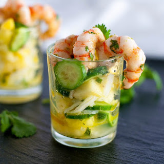 Grilled Prawn Cocktail with Pineapple Jicama Salad.