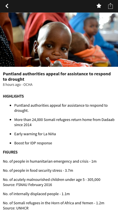 ReliefWeb Headlines- screenshot