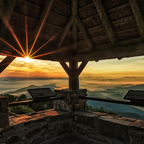 Wayah Firetower2 by Jeremy Yoho - Buildings & Architecture Other Interior ( clouds, mountains, sky, mountain, wood, sunset, stone, sunrise )