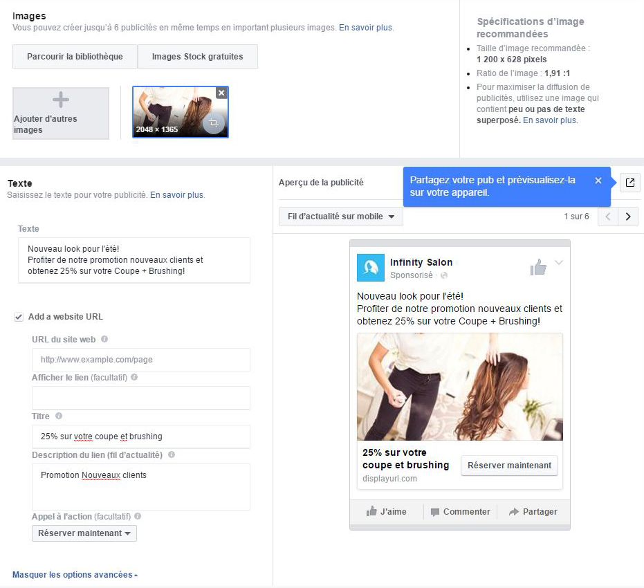 exemple pub facebook