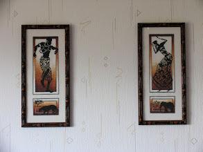 """Photo: Самые первые работы из серии """"Африканские танцы"""" пр.Золотое Руно. Работы простенькие, первый опыт. Расчерчивала карандашом, разметка так и не отстиралась полностью, даже в машине. Неплохо оформлена: рамка """"под бамбук"""". Канва оригинальная, ничего не меняла."""