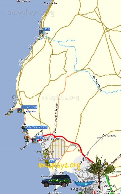 Mapa de Playas del Sector Los Taques