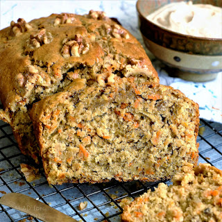 Whole Wheat Carrot Apple Walnut Quick Bread #Breadbakers.