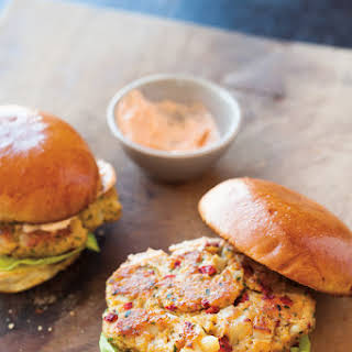 Chickpea & Roasted Red Pepper Burgers with Smoked Paprika Mayonnaise.