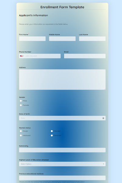 Free Online Form Templates Create Beautiful Forms