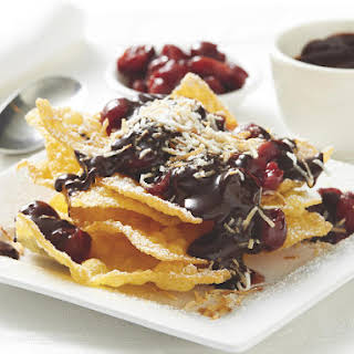 Fried Wonton Crisps with Chocolate Sauce and Morello Cherries.
