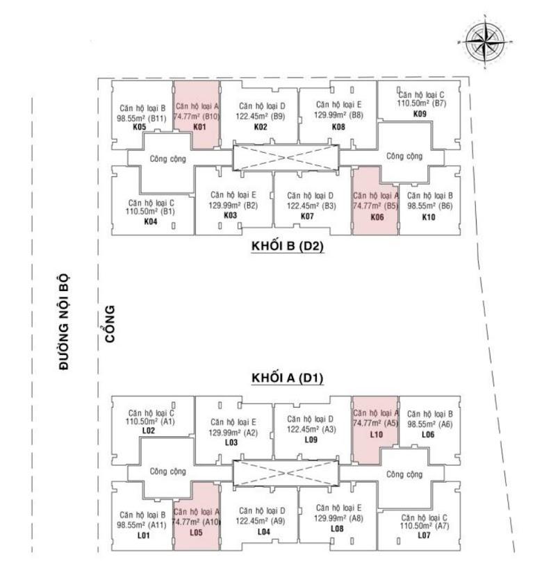 mặt bằng tầng 1-17