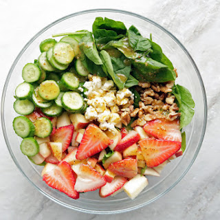 Strawberry Cucumber Spinach Salad with Apple Cider Vinaigrette.