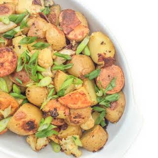 Garlic Roasted Potatoes and Cauliflower.