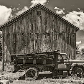 Earl's Truck by Greg Croasdill - Black & White Landscapes ( clouds, farm, barn, truck, us-12, rural )