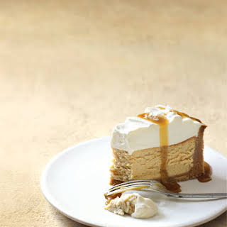 Salted Caramel And Vanilla Baked Cheesecake.