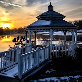 Sunrise Park Gazebo  by Steve Parsons - City,  Street & Park  City Parks ( gazebo, sunrise, snow, city park, winter, lake, missouri )