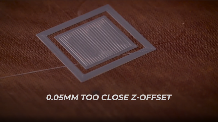 A calibration 3D print with the Z-Offset set approximately 0.05mm too close.