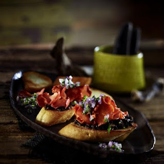 Mushroom Crostini With Olive Tapenade.