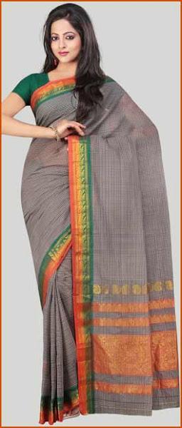 Photo: Dusty Green and Orange Narayanpet Handloom Cotton Saree With Blouse  Itemcode: SSP10  Price: US$ 27.51  Click @ http://www.utsavfashion.com/store/sarees-large.aspx?icode=SSP10
