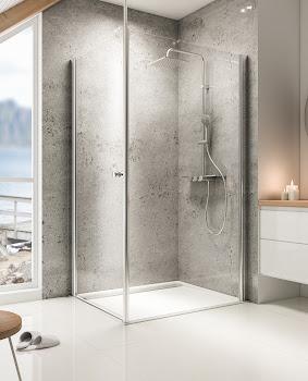 Paroi de douche fixe à l'italienne Walk In avec porte battante et barre au plafond