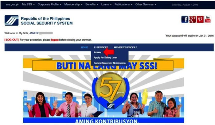 Check SSS employment history online step 2