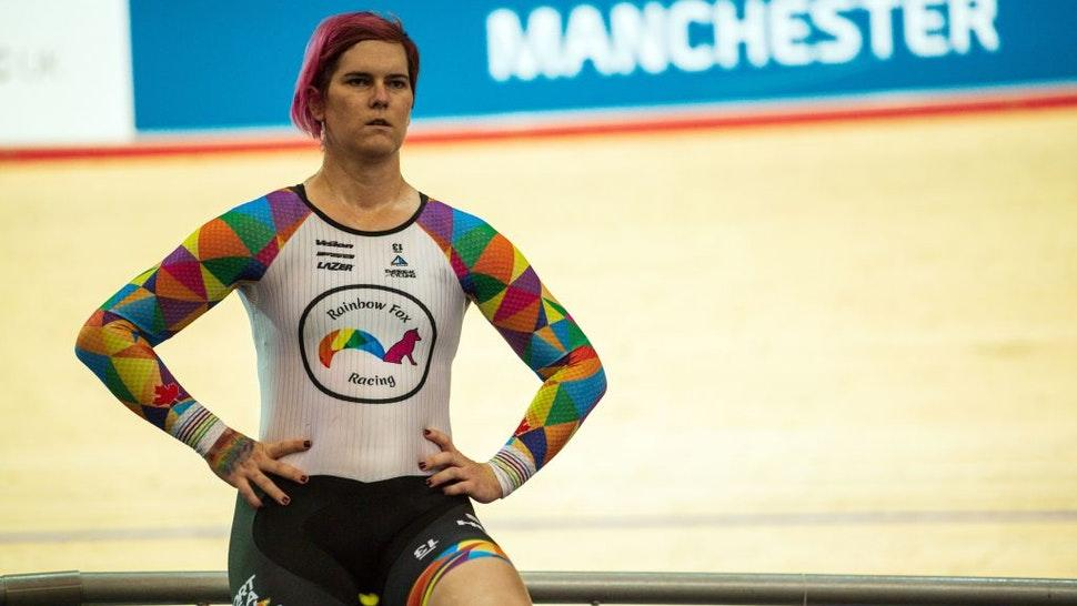 Canadian cyclist Rachel McKinnon warms up before competing in her F35-39 sprint semi-final during the 2019 UCI Track Cycling World Masters Championship, in Manchester on October 19, 2019. - Transgender cyclist Rachel McKinnon has defended her right to compete in women's sport despite accepting trans athletes may retain a physical advantage over their rivals. (Photo by OLI SCARFF / AFP) (Photo by OLI SCARFF/AFP via Getty Images)
