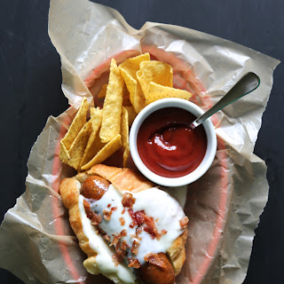 French Croissant Hot Dogs with Crispy Bacon