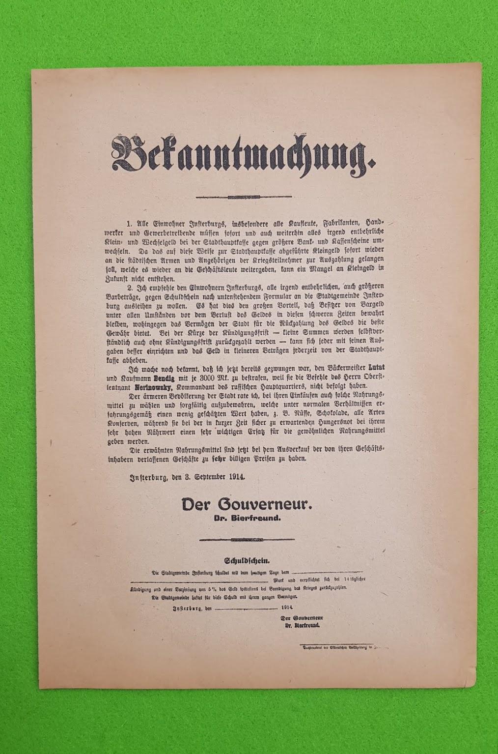 Bekanntmachung - Plakat vom Beginn des Ersten Weltkrieges - 1914