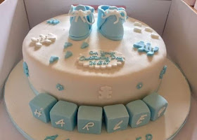 Baby blocks christening cake