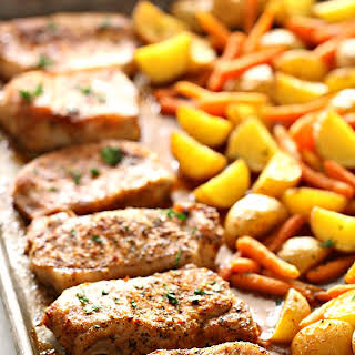 Sheet Pan Italian Pork Chops with Potatoes and Carrots.