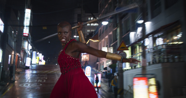 Danai Gurira during her wig whipping fight scene.
