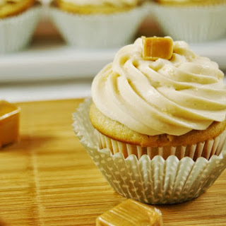 Salted Caramel Cupcakes with Caramel Buttercream Frosting.