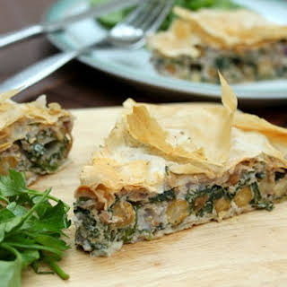 Spinach And Ricotta Strudel With Chickpeas.