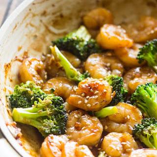 Quick Honey Garlic Shrimp and Broccoli.