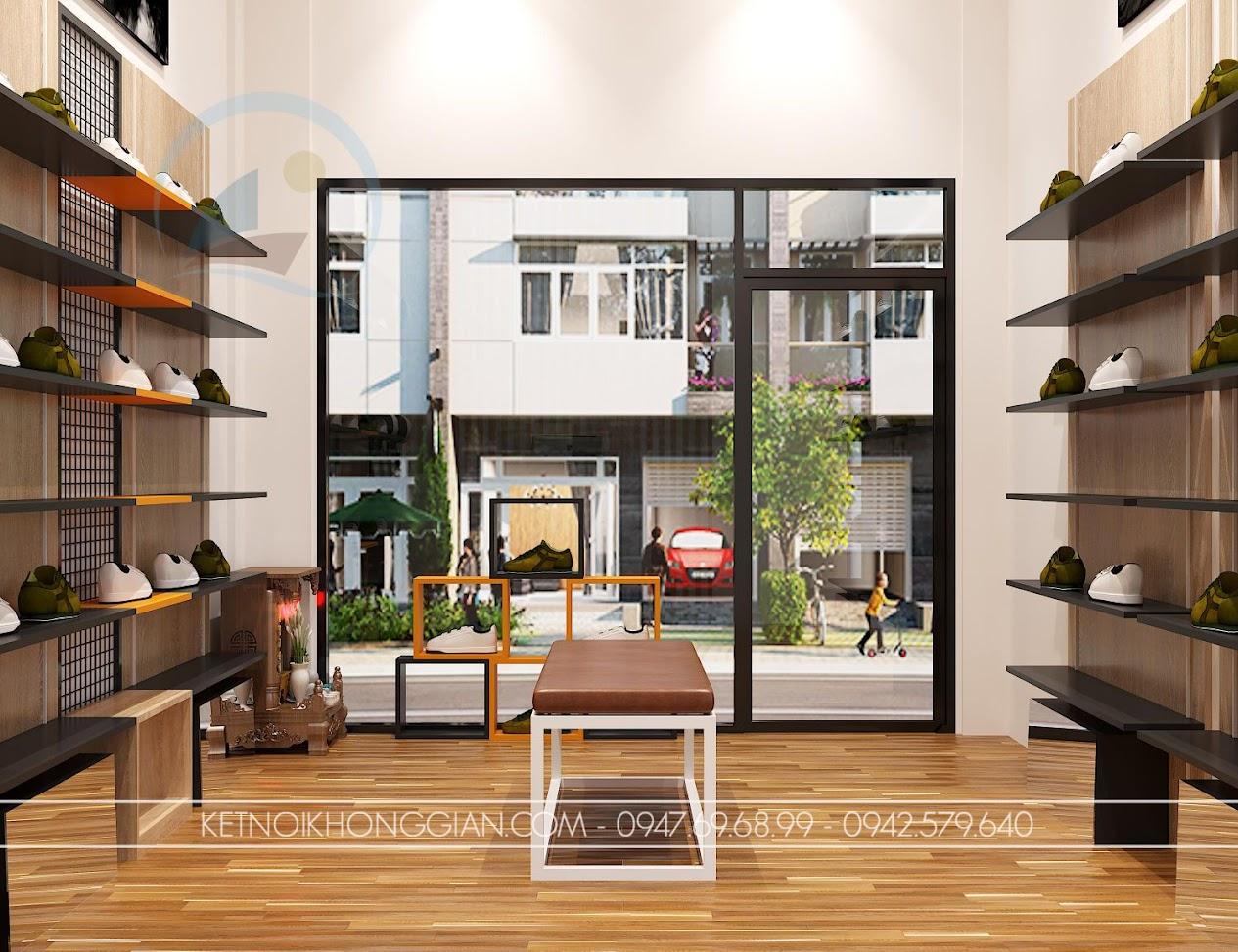 thiết kế shop giày dép nhỏ 16m2 đơn giản