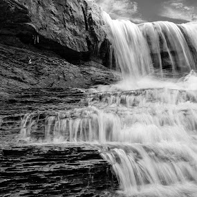 The Spillway by Ty Shults - Landscapes Waterscapes ( clouds, water, spillway, black and white, shale, waterfall, sediment, flow, noise, sky, sound, peace, overflow, meditate, rocks,  )