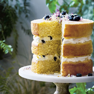 Coconut And Blueberry Sponge Layer Cake.