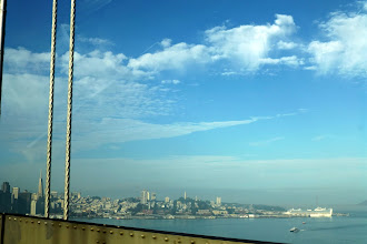 Photo: And there's the first glimpse of the city, the Golden Gate Bridge on the far right, behind the ocean liner