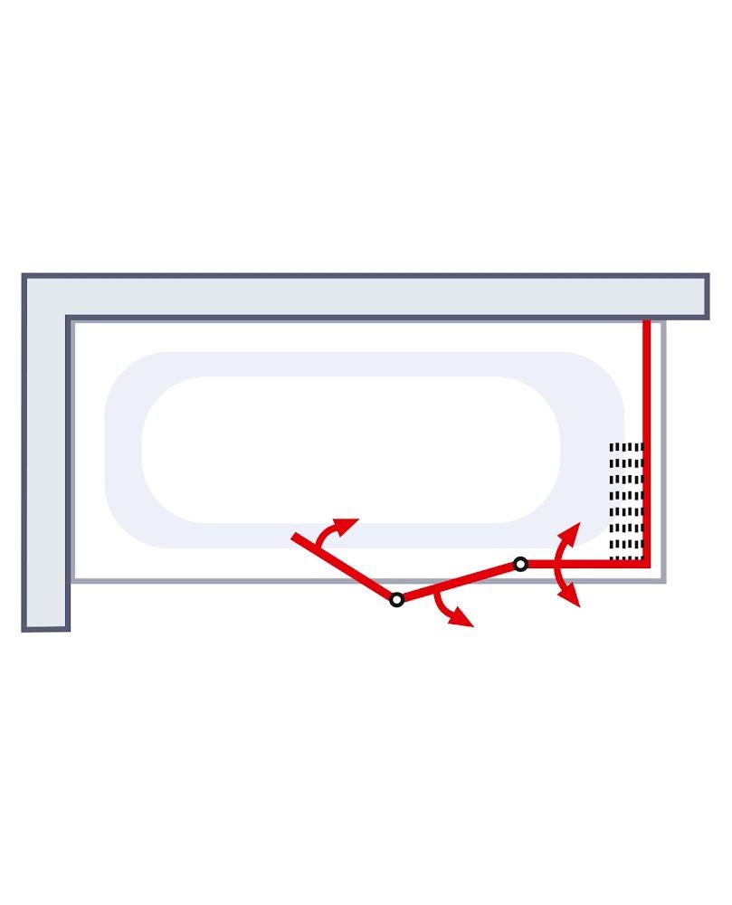 Schulte Badewannenaufsatz Badewannenduschwand 3-teilig mit Seitenwand D1570 1511